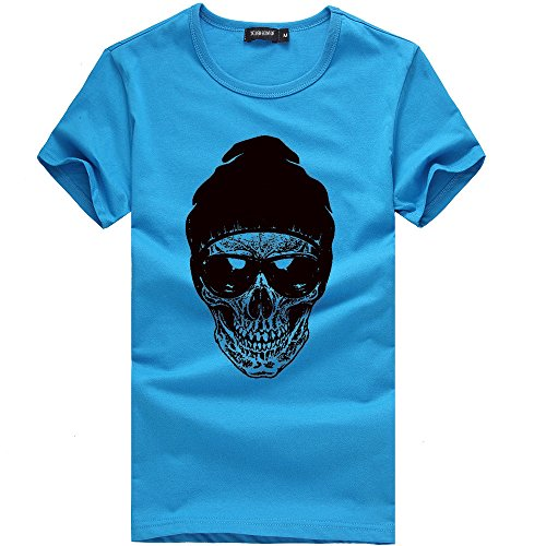 POHOK Short Sleeve T Shirt Men Printing Tees Shirt Men's Cotton Casual Blouse