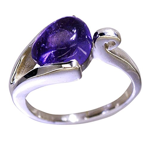 Gemsonclick Genuine Amethyst Ring For Women Silver Pear Cut Bezel Style Handmade Size 5,6,7,8,9,10,11 ()