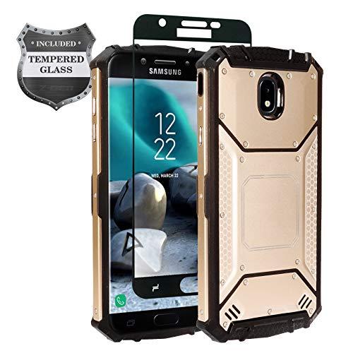 Z-GEN - Galaxy J7 2018, J7 Refine, J7 Star, J7 Crown, J7 Aura, J7 Top, J7 V J7V 2nd Gen J737 - Aluminum Metal Hybrid Phone Case for Samsung + Tempered Glass Screen Protector - ZY1 Gold