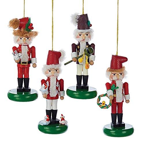 Kurt Adler Steinbach Wooden Twelve Days OF Christmas Nutcracker Ornament Set OF 4
