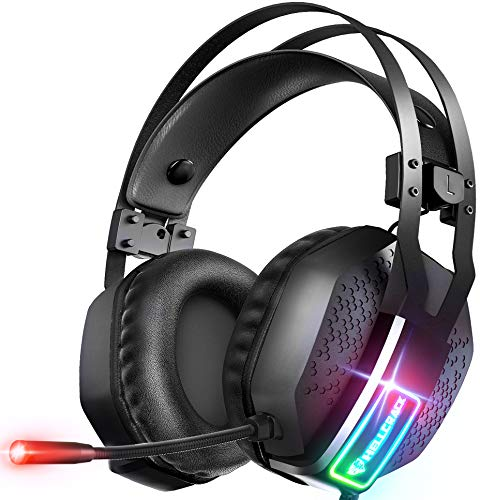 Mifanstech V-10 Gaming Headset for Xbox One PS4 PS5 PC with 7.1 Surround Sound and 50mm Drivers, Over Ear 3.5mm Stereo…