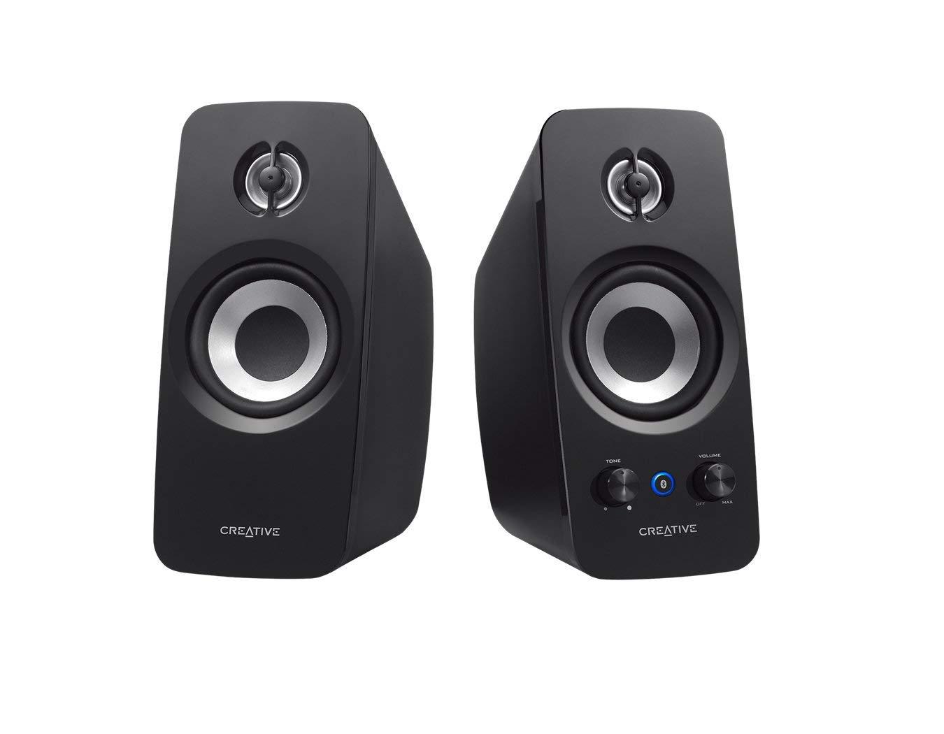 Creative T15 - 2.0 Bluetooth-Lautsprechersystem, schwarz (Zertifiziert und Generalü berholt)