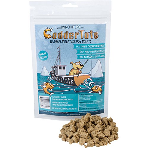 Fish Training - CodderTots Natural Low Calorie Dog Treat - 100% Pure Icelandic Whitefish Fillets - Healthy Rich in Omega-3 Fatty Acids by TwinCritters - 4oz