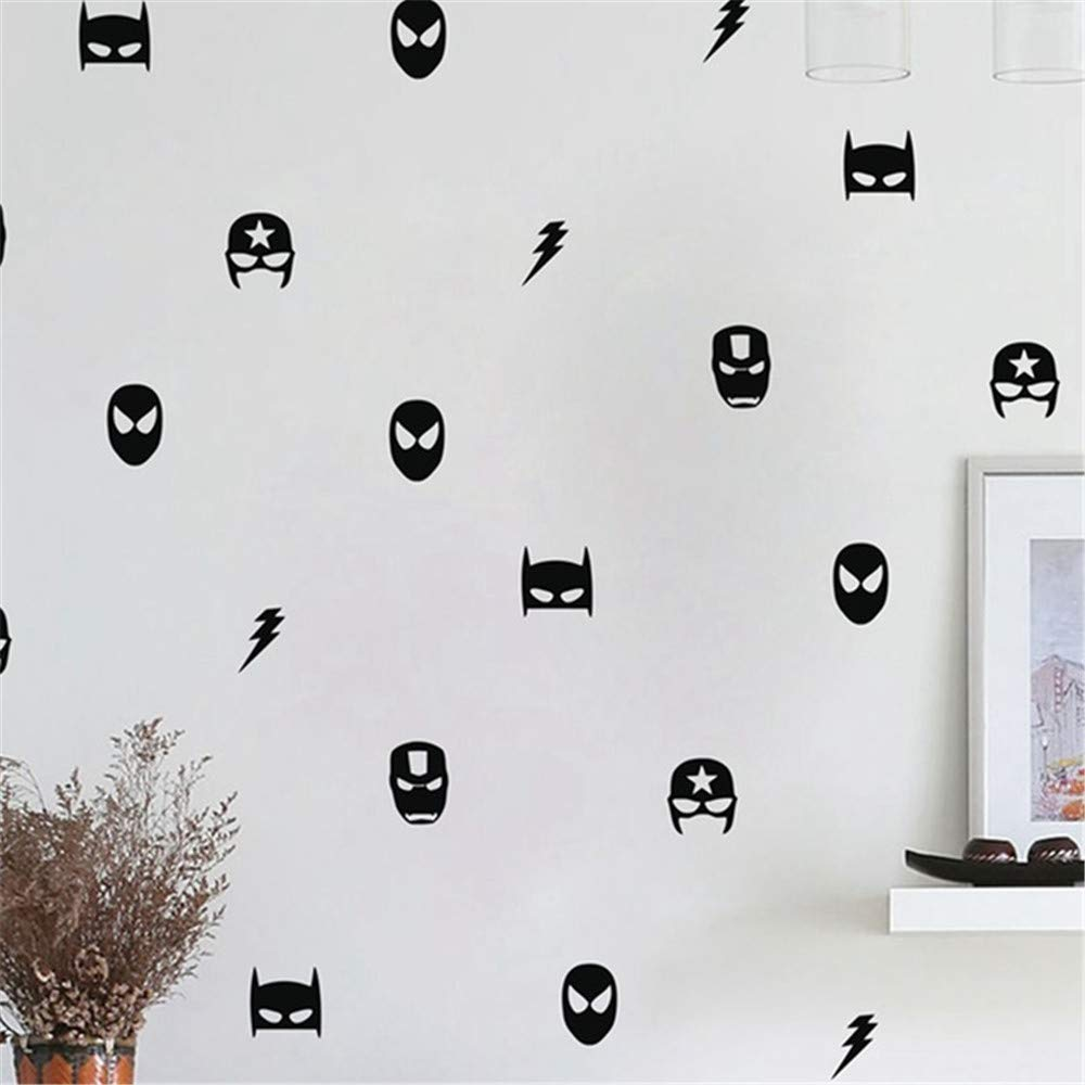 alicefen 40 Super Hero Marvel Masque Sticker Mural Enfant Gar/çon Chambre D/écoration Vinyle Art Sticker Noir