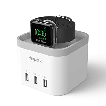 Soporte Cargador para iphone,Simpeak Cargador para Apple Watch Cargador para iwatch con 3 Puertos USB Base de Carga para apple watch stand soporte ...