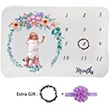 Newborn Baby Girl Monthly Milestone Blanket Set Floral...