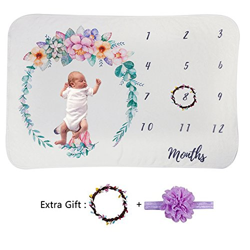 Newborn Baby Girl Monthly Milestone Blanket Set Floral Unisex Age First Year for Boy Infant Swaddle Toddler Soft Fleece Photo Props