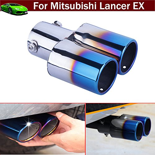New 1pcs Blue Color Double Outlets Stainless Steel Tailipe Exphaust Muffler Rear Tail Pipe Tip Cover Trim Custom Fit For Mitsubishi Lancer EX 2007 2008 2009 2010 2011 2012 2013 2014 2015 2016 2017 2018 Chaoben