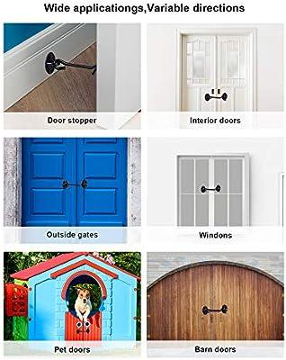 Gancho de puerta de acero inoxidable sólido con tornillos de montaje para puerta de granero, baño, ventana, puerta corredera, dormitorio (negro): Amazon.es: Bricolaje y herramientas