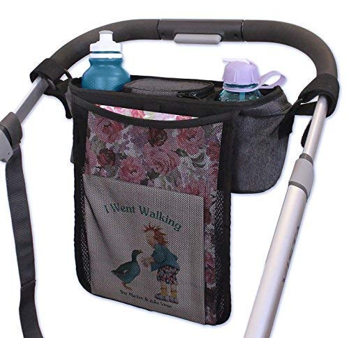 Stroller Organizer with Cup Holder, Carry Handle + STROLLER BAG HOOK! Unique collapsible design Stroller Caddy & rigid top means it WONT SAG & LOSE SHAPE like other baby organizer stroller accessories by Organized Empire (Image #6)