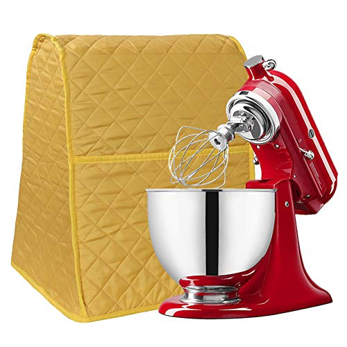 Stand Mixer Cover, Dust-Proof Organizer Quilted Kitchen Mixer Protector, Anti Fingerprint Mixer Covers Fits All Tilt Head & Bowl Lift Compatible 4.5-6 Quart Models CYFC628 (Yellow)