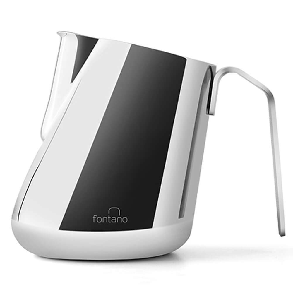 Fontano Tilted Milk Frothing Pitcher Professional Latte Art Milk Steaming Jug Stainless Steel, Silver - 600ml / 20oz