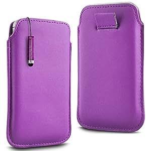 Online-Gadgets UK - HTC Desire 510 Prima Soft PU del tirón del cuero de la piel Caso Tire de la tabulación y Mini Stylus Pen - luz púrpura