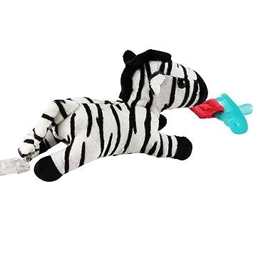 Sostenedor del chupete de la cebra con el juguete animal rellenos desprendible de la felpa y traqueteo para el niño sin la entrerrosca (blanco y ...