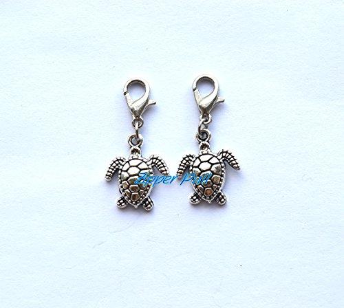 Sea turtle bracelet charm, zipper pull, purse charm,Sea turtle Zipper Pull, Perfect for Necklaces, Bracelets , keychain and earrings (Turtle Charm Earrings)