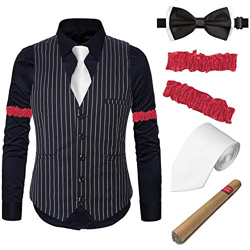 1920s Mens Gatsby Costume Accessories Set - Flapper Stripe Vest,Black Gangster Dress Suit Shirt & Armbands,Toy Fake Cigar,Tie,Pre-Tie,BK,S