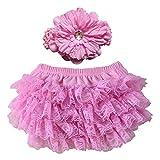 Baby Girls White Knit Lace Ruffled Bloomer + Flower Headband Set (0-6M)
