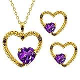 1.61 Ct Heart Shape Purple Amethyst Gold Plated Silver Pendant Earrings Set