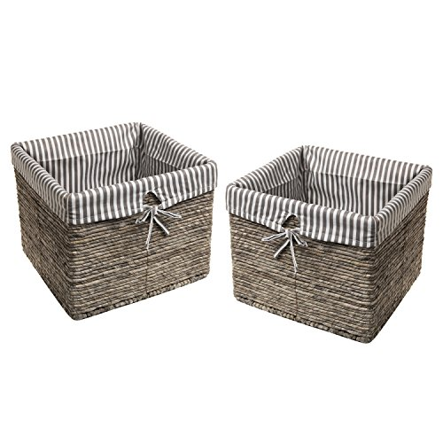 2 Gray Rattan Woven Stripe Fabric Lined Laundry / Magazine / Home Storage Basket (Storage Lined)