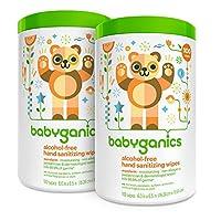 Babyganics Alcohol Free Hand Sanitizer Wipes, Mandarin, 100 Count Canister (P...
