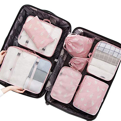 53b4a92cefde Belsmi 8 Set Packing Cubes - Travel Accessory With Shoe Bag Mesh Underwear  Waterproof Compression Travel Luggage Organizer With Shoes Bag (Pink ...