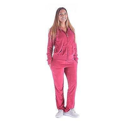 Women s Soft Active 2 Piece Velour Hoodie   Pants Tracksuit Set (Small 8d7b6dc5d19a
