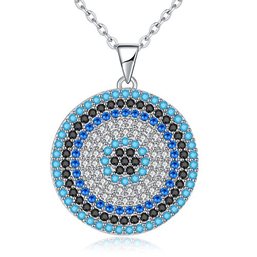 (Kaletine Round Blue Evil Eye Pendant Necklace Sterling Silver 925 Cubic Zirconia Turquoise 16