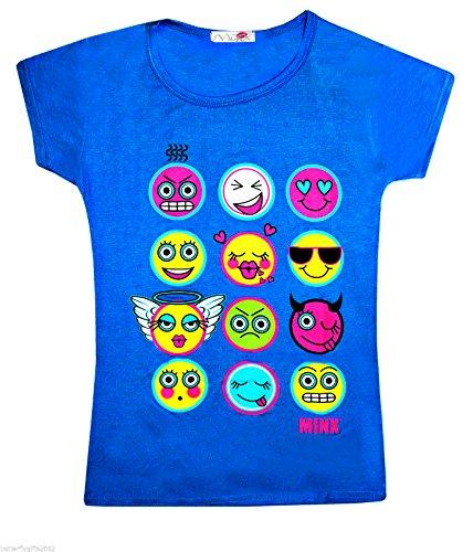 a manga de ni 13 real para Chicas Emoticonos Azul sonrientes Emoji os corta Camisetas os Caras Tops 2 qzE8xR6g
