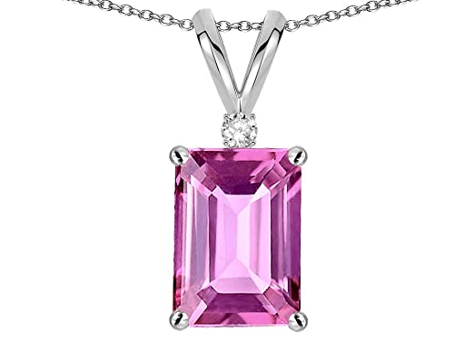 Star K Solid 14K Gold Classic Octagon Emerald Cut 8x6mm Pendant Necklace
