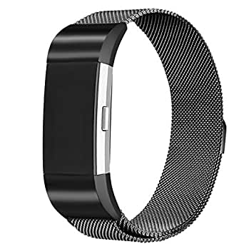 for Fitbit Charge 2 Bands, bayite Stainless Steel Milanese Loop Metal Replacement Accessories Bracelet Strap with Unique Magnet Lock, Black Small