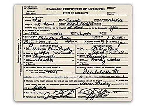 Sylty Elvis Birth Certificate - Metal Wall Home Pub Decor Sign 12x16 inch