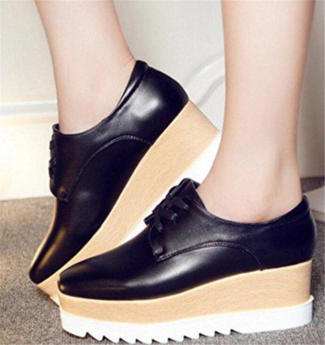 Chaussures Oxford Pour Femmes, Satuki Plate-forme Décontractée Lacets Talons Chaussures Robe Noire-2