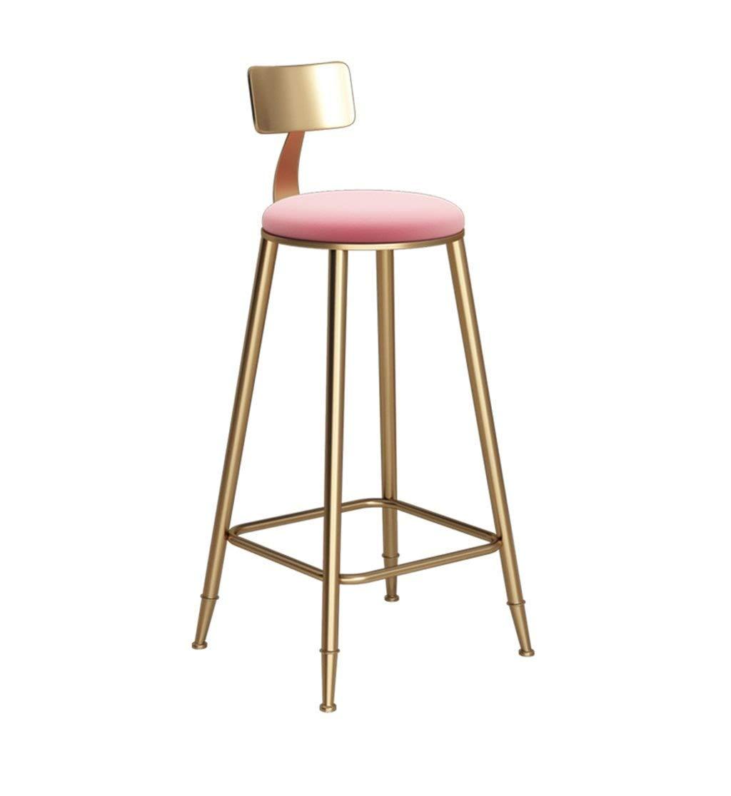 クリエイティブ錬鉄ゴールデンアームチェアバースツール生地カフェダイニングチェアハイスツールレジャーハイチェアシンプルモダン FENPING (Color : Pink) B07TSZSRSK Pink