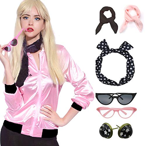 Retro 1950s Rhinestore Pink Ladies Costume Outfit Accessories Set -