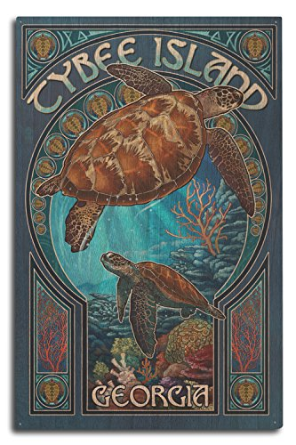 Lantern Press Tybee Island, Georgia - Sea Turtle Art Nouveau (10x15 Wood Wall Sign, Wall Decor Ready to Hang) ()