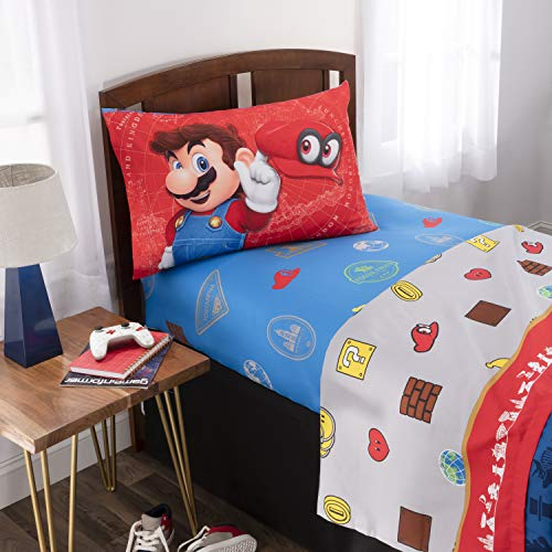 Nintendo Super Mario Odyssey Kids Bedding Soft Microfiber Sheet Set, Twin Size 3 Piece Pack