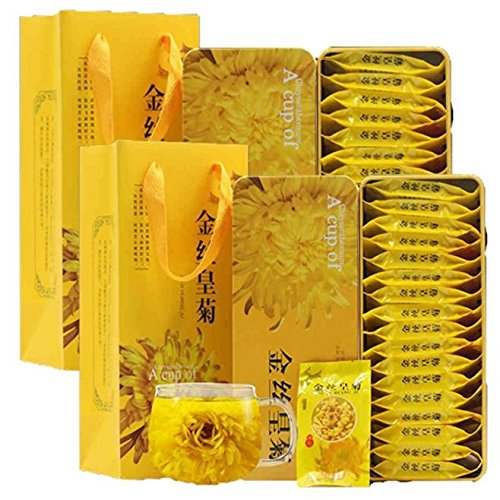 Dian Mai Gold silk Huang Ju a cup of special Huang Jugong chrysanthemum large chrysanthemum tea 40 (20 / box a total of 2 boxes)