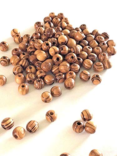 300~ Olive Wood Round Beads Polished Rosary Jewelry Holy Land Bethlehem Jerusalem (7mm)