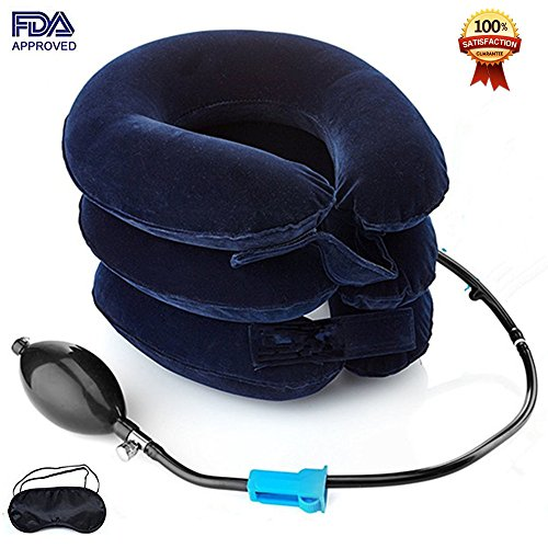 Cervical Neck Traction Device FDA Registered  Inflatable, Adjustable Neck Stretcher Collar for Home Traction Spine Alignment