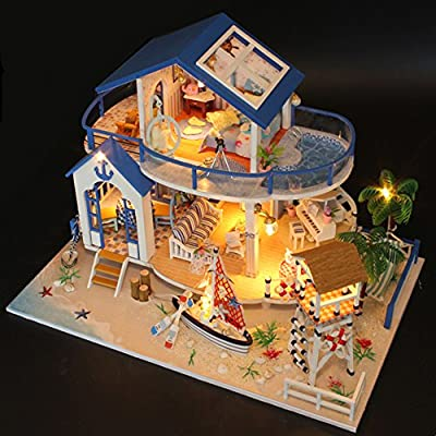 Flever Dollhouse Miniature DIY House Kit Creative Room With Furniture for Romantic Valentine's Gift(Tale of Blue Sea)