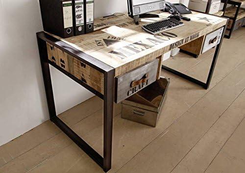 Legno massello Mobili stampata stile industriale Legno di mango Scrivania solido completo Ferro Fabbrica #124