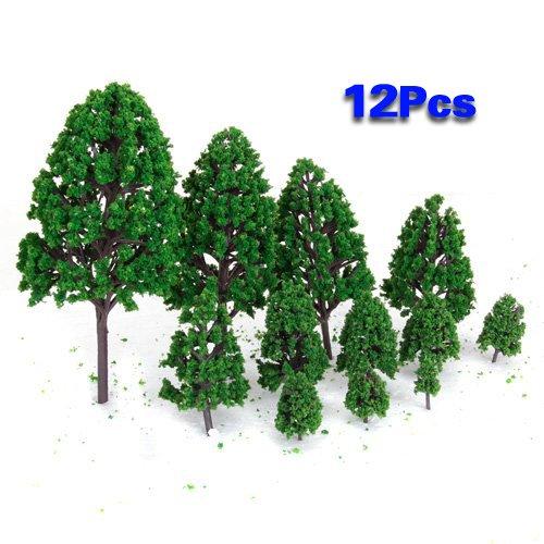 12pcs 1:50 Train Scenery Landscape Model Trees (Green) - 8