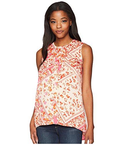 図書館手つかずの切断する[エレントレーシー] Ellen Tracy レディース Sleeveless Two-Pocket Shirt トップス Scarf/Begonia Combo XL [並行輸入品]