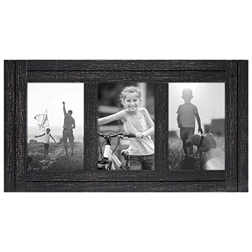Americanflat 4x6 Charcoal Black Collage Distressed Wood Frame - Made to Display 3 4x6 Photos - Ready to Hang - Ready to Stand on Tabletop