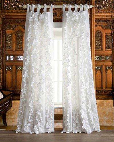 - Organic Linen gauze or sheer vertical ruffles with tie top tabs living room window sheer curtain (WHITE, 52