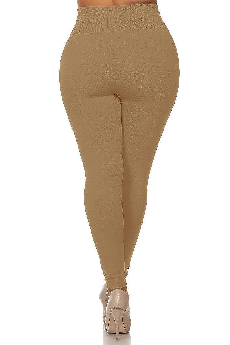 5c47c1ae7 World of Leggings Plus Size High Waisted Fleece Lined Legging - Beige at  Amazon Women s Clothing store