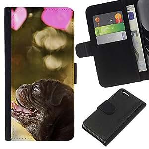 EJOY---La carpeta del tirón la caja de cuero de alta calidad de la PU Caso protector / Apple Iphone 5C / --Pug Cachorro de perro de San Valentín del amor del corazón