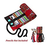 Back to School Supplies Essential 2017-Black Tree Canvas Sketching Drawing Pencil Wrap Pouch Roll Up Case Holder Storage Bag(Pencils not included) (48Slots, Red)