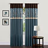 Triangle Home Fashions Lush Decor, 42-Inch X  84-Inch Cocoa Blossom Curtain, Blue/Brown, 2 Panels