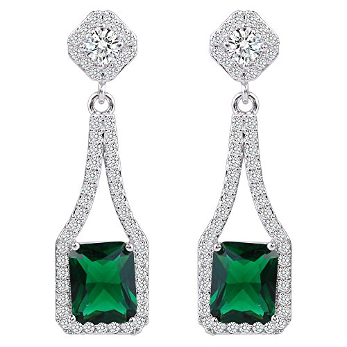 EVER FAITH Women's Cubic Zirconia Gorgeous Square Flower Chandelier Drop Earrings Green ()
